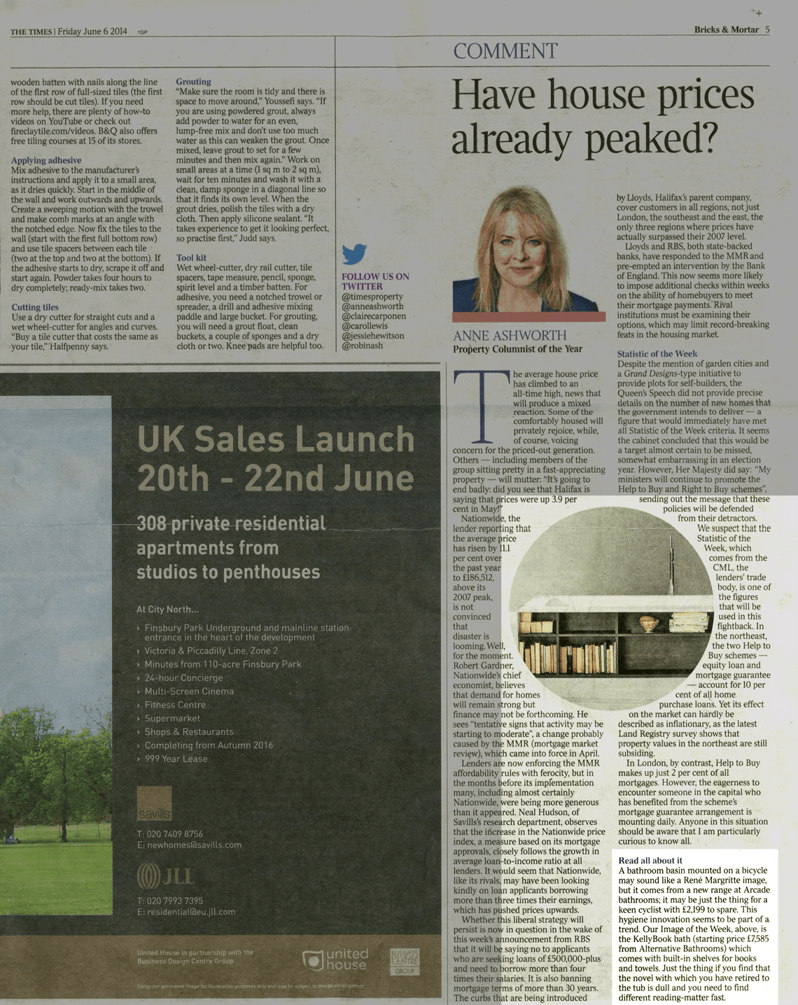 The Times Bricks & Mortar June 6th 2014 - Alternative Bathroom Showrooms London